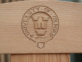 Carved chair for University of Oxford